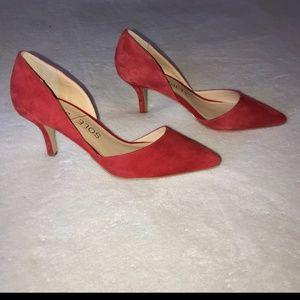 Red suede heels NWOT